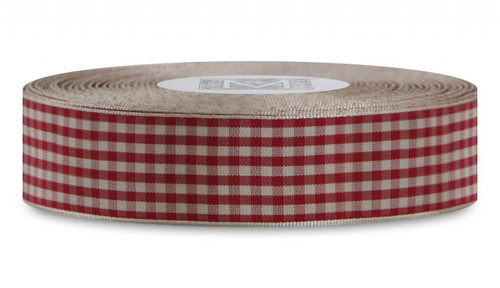 Checked Taffeta Ribbon - Cream/Red