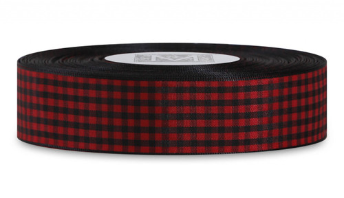 Checked Taffeta Ribbon - Black/Red