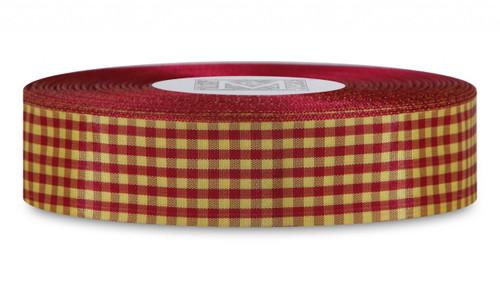 Checked Taffeta Ribbon - Berry/Yellow
