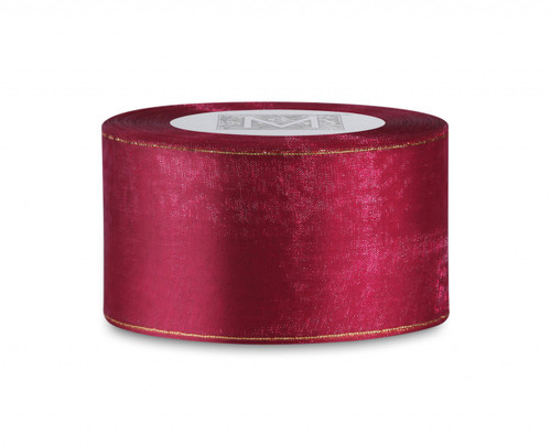 Edged Organdy Ribbon - Cranberry/Gold