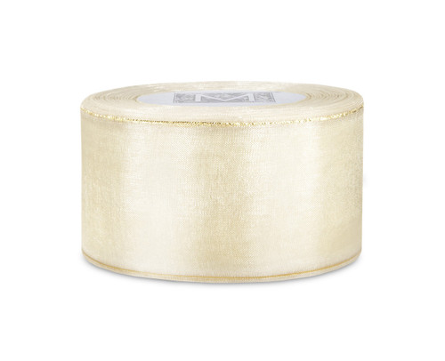 Edged Organdy Ribbon - Ivory/Gold
