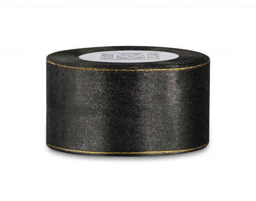 Edged Organdy Ribbon - Black/Gold