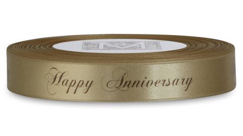 "Double Faced Satin Sayings - Brown ink ""Happy Anniversary"" on Blonde"