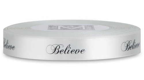 "Double Faced Satin Sayings - Black ink ""Believe"" on Bone"