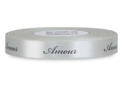 "Black ink ""Amour"" on Bone Ribbon - Double Faced Satin Sayings"