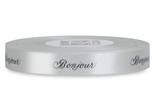 "Double Faced Satin Sayings - Black ink ""Bonjour"" on Bone"