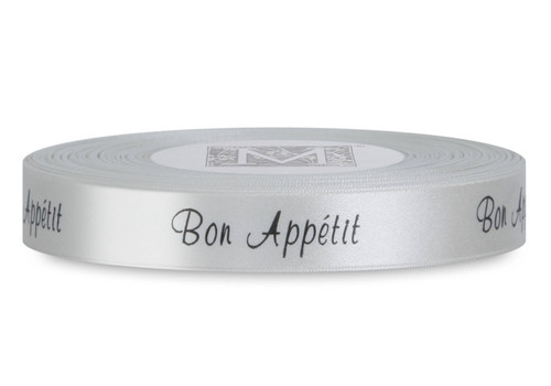 "Double Faced Satin Sayings - Black ink ""Bon Appetit"" on Bone"