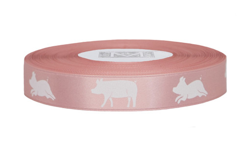 White ink Pig on Tea Rose Ribbon - Double Faced Satin Symbols