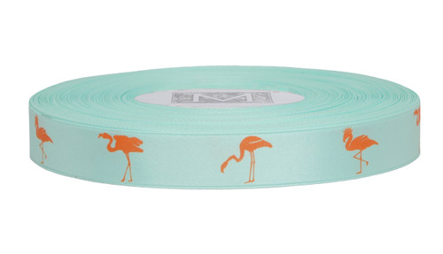 Orange ink Flamingo on Spa Ribbon - Double Faced Satin Symbols