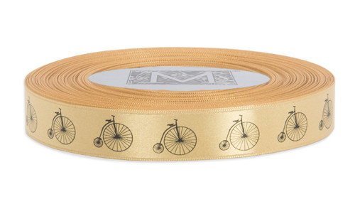 Black ink Bicycle on Almond Ribbon - Double Faced Satin Symbols
