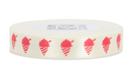 Red ink Shaved Ice on Bone Ribbon - Double Faced Satin Symbols