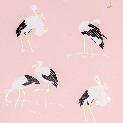 Stork – Light Pink/Black, White & Gold Metallic
