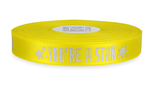 "Silver Ink ""You're A Star"" on Golden Chain Ribbon - Double Faced Satin Sayings"
