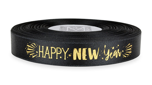 "Metallic Gold ink ""Happy New Year"" on Black Ribbon - Double Faced Satin Sayings"