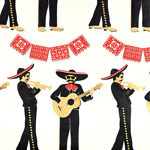 Gift Wrap - Mariachi - Cream/Metallic Red, Black and Gold