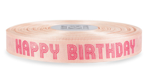 "Magenta ""Happy Birthday"" on Ballerina Ribbon - Rayon Trimming Sayings"
