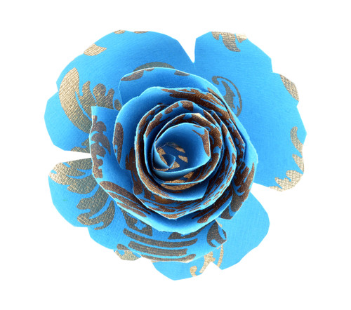 Paper Rose Topper - Pineapple Blue/Gold