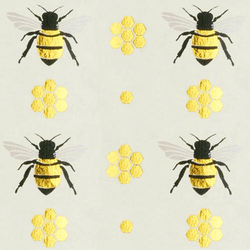 Gift Wrap - Honey Bee - Cream/Metallic Gold and Black