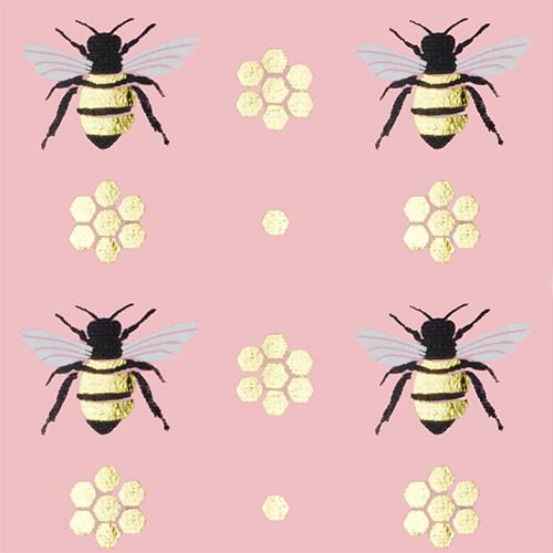 Gift Wrap - Honey Bee - Light Pink/Metallic Gold and Black