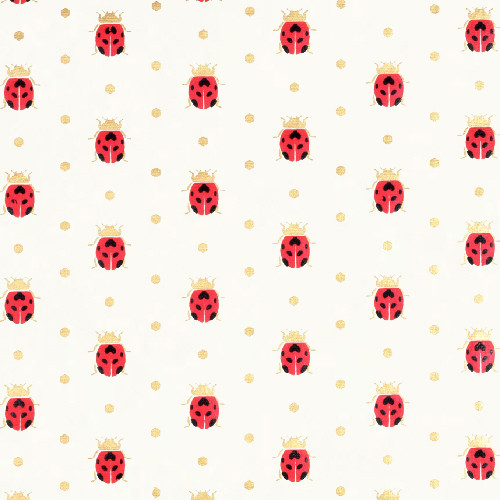 Gift Wrap - Ladybugs - Cream/Red