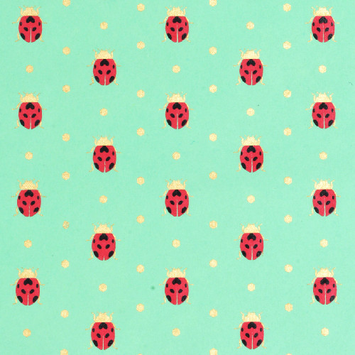 Gift Wrap - Ladybugs - Mint Green/Red