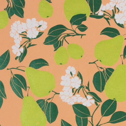 Gift Wrap - Pear Blossom - Peach/Lime Green/Dark Green/White