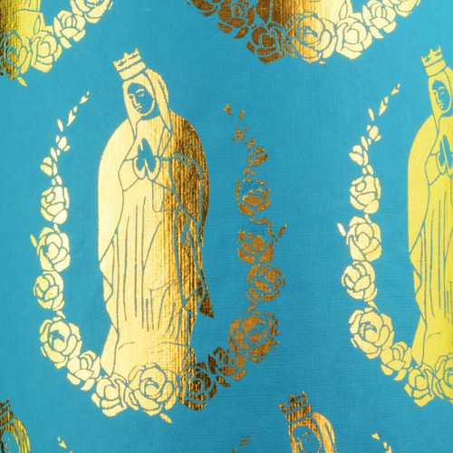 Virgin Mary - Turquoise & Gold foil