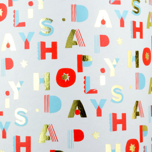 Happy Holidays - White, Red, Light Blue &  Gold foil