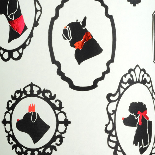 Dog Silhouettes - Cream, Black and Red foil