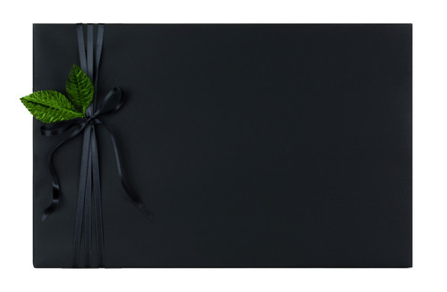 Present's Name: Narrow Black with Leaf detail on Black