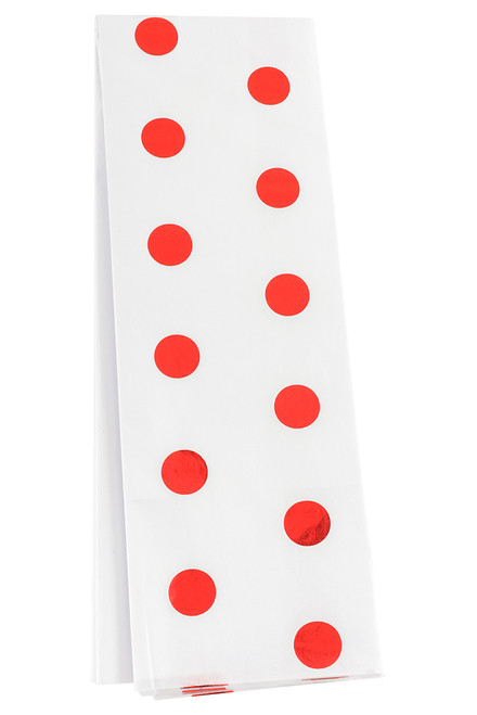 Metallic Polka Dots on Tissue Paper - Red