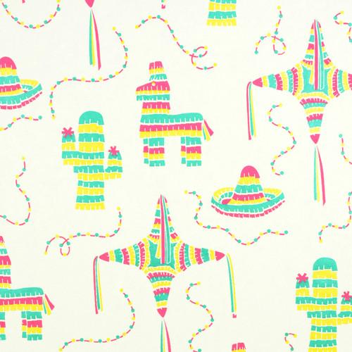 Piñatas - Cream, Magenta/Bright Green and Yellow Metallic