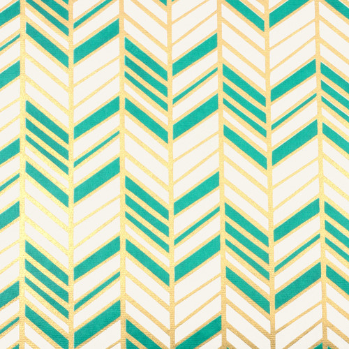 Chevron - Cream, Gold/Green Metallic