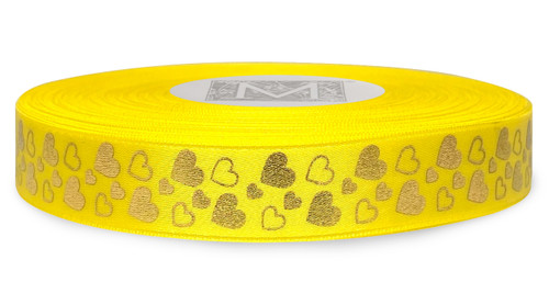 Metallic Gold Ink Hearts on Goldenchain Ribbon - Double Faced Satin Symbols