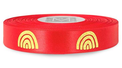 Metallic Gold Ink Rainbow on Red Ribbon - Double Faced Satin Symbols