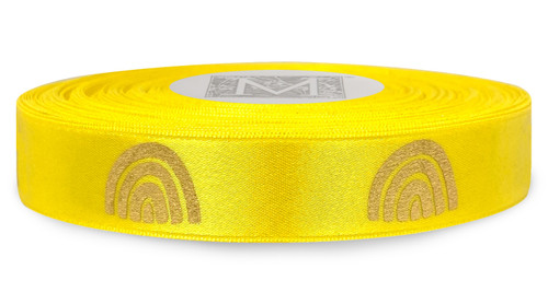 Metallic Gold Ink Rainbow on Goldenchain Ribbon - Double Faced Satin Symbols
