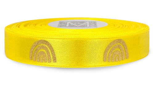 Metallic Gold Ink Rainbow on Goldenchain Ribbon - Double Faced Satin Symbols