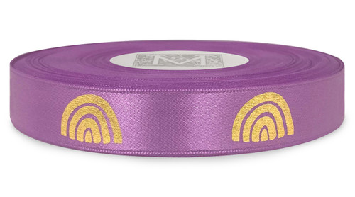 Metallic Gold Ink Rainbow on Viola Ribbon - Double Faced Satin Symbols
