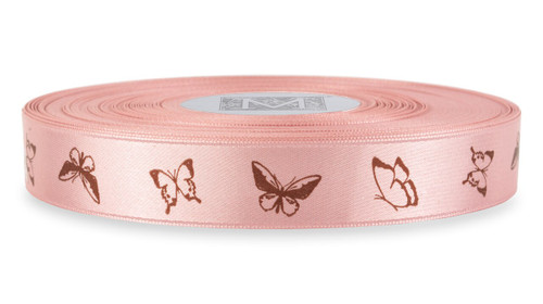 Brown Ink Butterfly on Tea Rose Ribbon - Double Faced Satin Symbols