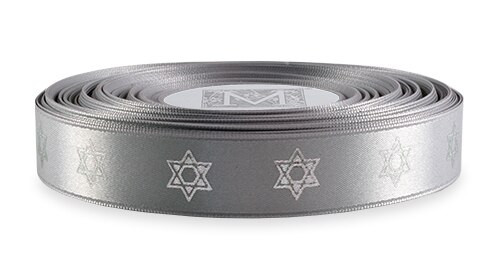 Silver Ink Star of David on Sterling Ribbon - Double Faced Satin Symbols