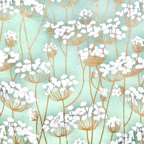 Twigs White/Gold Mint Gift Wrap