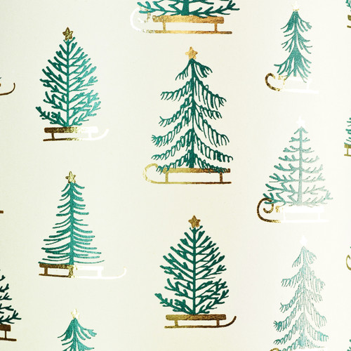 Winter Sleigh Cream Green and Gold Foil Gift Wrap