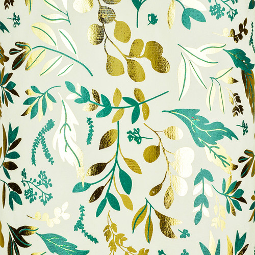 Leafage Cream Green Metallic and Gold Foil Gift Wrap