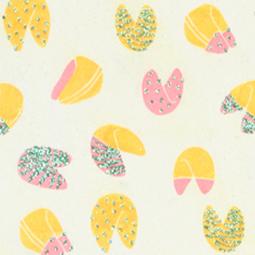 Fortune Cookie Cream Yellow/Pink and Green Glitter Gift Wrap