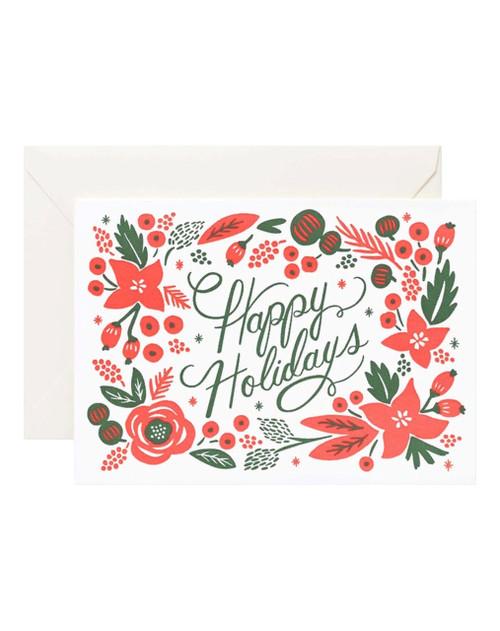"""Poinsettia """"Happy Holidays"""" Card"""