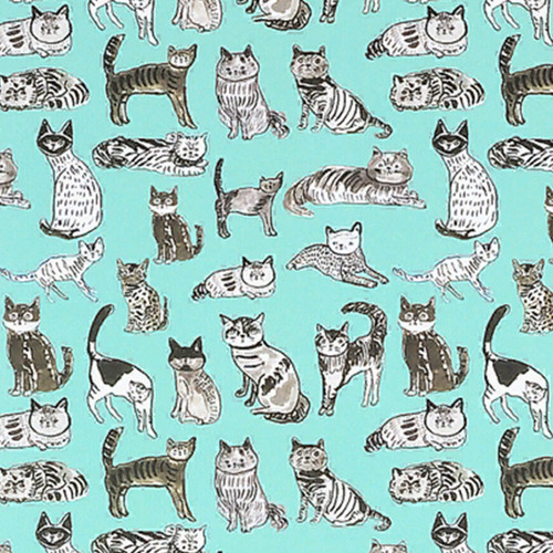 Teal Cat Gift Wrap