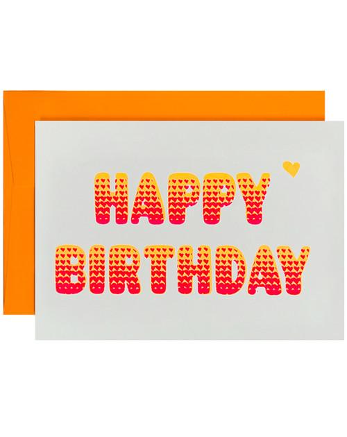 Happy Birthday Neon Orange Card