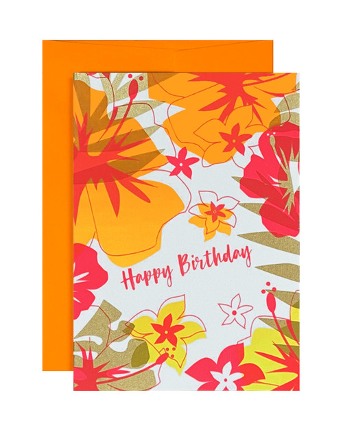 Happy Birthday Tropical Neon Orange  Card