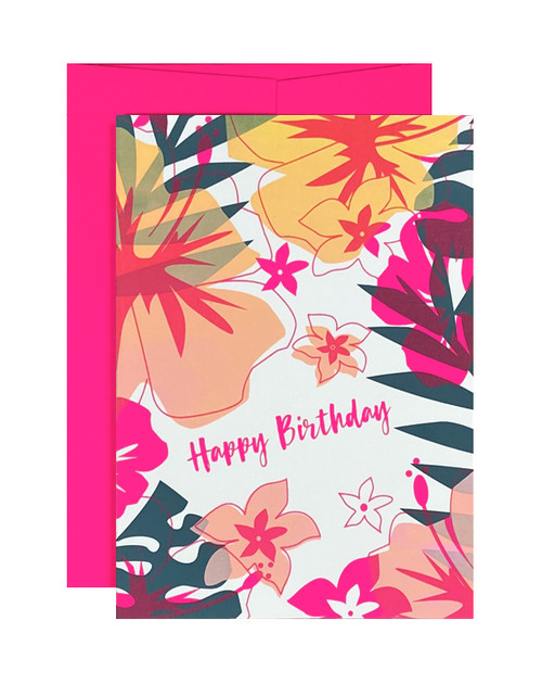 Happy Birthday Tropical Neon Pink Card