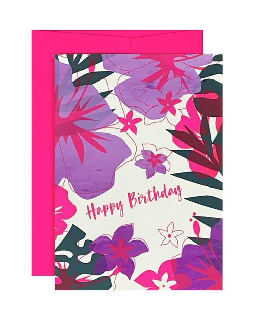Happy Birthday Tropical Neon Purple Card